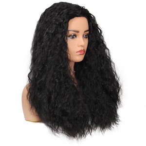 Wholesale Factory price pc Women Fashion Lady Black Long Wavy Curly Hair cm Cosplay Party Sexy Wigs Stand Stocked Novel Feb12