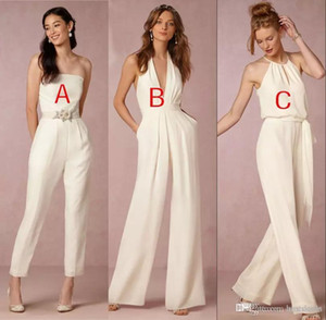 ingrosso jumpsuits per matrimoni-2020 Elegante tuta Abiti da damigella d onore per matrimoni guaina backless wedding Guest Dress Plus Size Pant Suit Beach Style