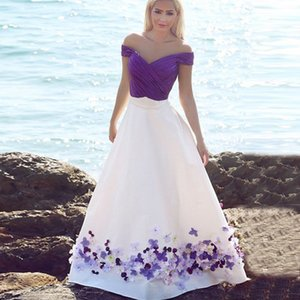 Wholesale Romantic D Floral Flowers Prom Dress Evening Gowns A line Satin White Purple Off shoulders Beaded Long Cheap Party Cocktail Dress