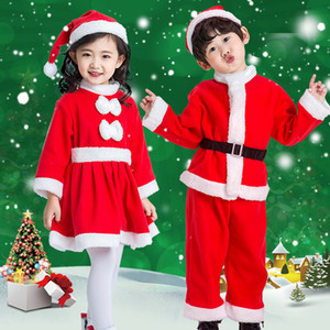 Wholesale THIN Little Santa Claus Costume Children Christmas Outfit White Fuzzy Trim Girls Bowknot Dress Boys Shirt Pants Hat Set Cosplay yrs