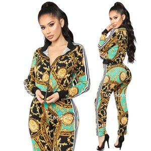Wholesale 2019 Women autumn Fashion Printed fashion casual sport suit two piece set Tracksuits Sweatshirt striped panel tracksuit factory direct sale