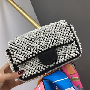 Wholesale Designer Luxury Fashion Handbags Plain Pearl Pleated Letter Chain Single shoulder Crossbody Bag Cowhide Genuine Leather High Quality
