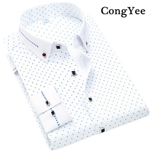 Wholesale 2017 Men Spring Polka Dot Design Stylish Long sleeve Dress Shirts C78