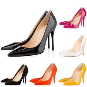 Wholesale Red bottoms Women High Heels Styles 8cm 10cm 12cm Noble black Genuine Leather Pointed Toes Pumps Rubber Dress Party Wedding shoes