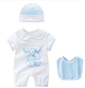 Wholesale New baby rompers Designer label Newborn Infant Baby Boy Girl clothes Cartoon Printed Romper Jumpsuit bib Clothes
