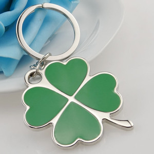 Wholesale Stainless High Quality Green Leaf Keychain Fashion Creative Beautiful Four Leaf Clover Steel Lucky Key Chain Jewelry Keyring