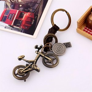 Wholesale Creative Alloy Bicycle Key chain Retro Woven Leather Keychain Jewelry Pendant Key Chain for Women Men Car Keyring Jewelry