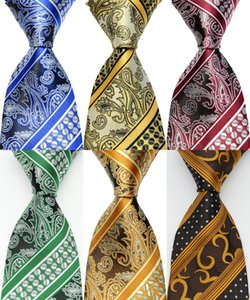 Wholesale Ties for men Silk Stripes necktie Floral Blue Green Red Jacquard Party Wedding Woven Fashion Design GZ102843