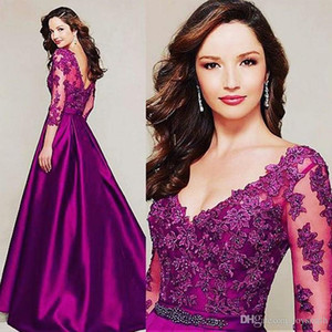 Wholesale long gowns three quarter sleeves for sale - Group buy A line V neck Three Quarter Sleeve Fuchsia Mother Of The Bride Dress With Appliques Long Satin Wedding Guest Gown