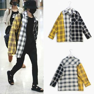 Wholesale Cool Kpop Bts SUGA Sweatshirts Hoodies Women Men Moleton Tracksuit Cotton Patchwork Plaid Harajuku Top Coat Hoodie Streetwear