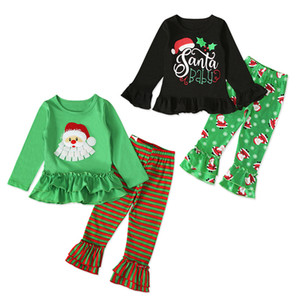 Wholesale gilrs clothing for sale - Group buy Baby Christmas Cartoon Outfits Infant Girls Ruffle Letter Tops Kids Casual Clothes Gilrs Striped Casual Clothes Toddler Pants Suit T