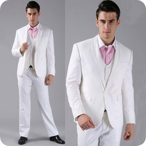 Wholesale grooms tuxedo beach for sale - Group buy Beach Wedding Groom Tuxedos White Men Suits Man Blazer Slim Fit Costume Homme Notched Lapel Piece Latest Coat Pant Designs Evening Party