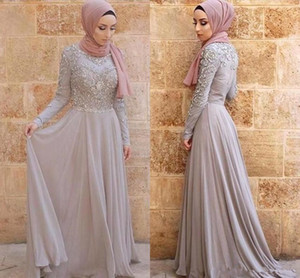 Wholesale 2019 Silver Gray Evening Dresses Hijab Arabic Dubai Vintage Long Sleeve High Neck Formal Occasion Party Gowns Prom Dress Appliqued BC1714