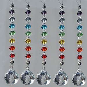 10PCS 20mm 30mm 40mm Crystal Suncatcher Ball Prism Chakra Colors Rondelle Beads Strand Design Rainbow Sun catcher Chrismas Decoration