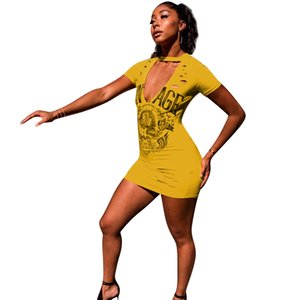 Wholesale Women Rock Yellow Tshirt Dress Deep V neck Hollow Out Designer Sheath Bodycon Dresses Summer Clothing