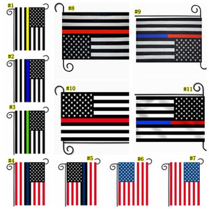 Wholesale 30*45cm BlueLine USA Police Flags party decoration Thin Blue Line USA Flag BlackWhite And Blue American Flag Garden flag MMA1798-6