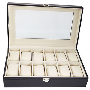 Wholesale Large Slots High grade PU Leather Watch Box Display Jewelry Collection Case Organizer Holder Black Color