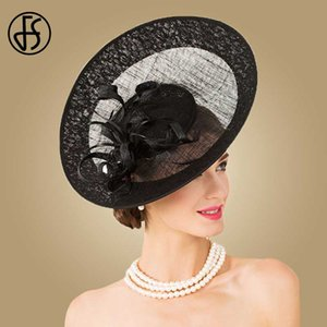 Wholesale FS British Royal Hat Black Linen Fedora Fascinator Wedding Dress Elegant Large Brim Hats For Women Ladies