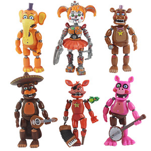 Wholesale 6 Styles Set Five Nights At Freddy Action Figures Doll Toys cm PVC High Quality Removeable Cartoon Toys Kids Gift Tabletop Decoraton