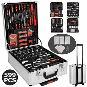Wholesale Promotion 599 PCS Hand Tool Set Mechanics Kit Wrenches Socket Toolbox Trolley Case Castors
