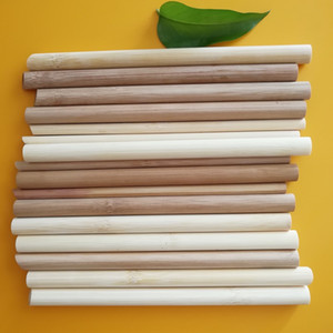 Wholesale natural reusable bamboo bubble tea straw tube set with case and cleaner brush bulk customized logo