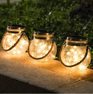 Wholesale jar balls for sale - Group buy Solar Copper Wire light Waterproof Crack Ball Glass Jar Outdoor Indoor Garden terraces Christmas trees Decoration LED Lamp