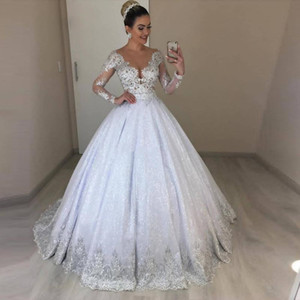 Wholesale puffy church dresses resale online - Bling Sequined A Line Wedding Dresses Lace Appliques Puffy Skirt Bridal Dress Jewel Neck Long Sleeve Church Wedding Gown
