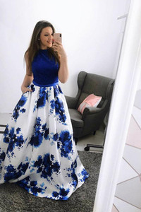 Wholesale Royal Blue Floral Print A-line Party Dress Cheap Vintage Cocktail Gown Women Retro Prom Evening Cocktail Dresses 2067