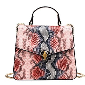 new fashion women Joining together Contrast color serpentine camouflage handbag The chain leather Inclined shoulder bag #D4506