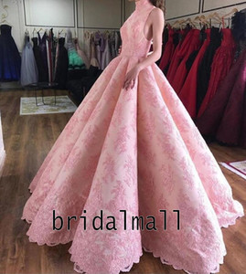 High Neck Appliqued Pink Lace Ball Gown Evening Dresses 2020 Elegant African Long Prom Dress Robe de soirée Dubai Arabic Formal Party Gowns on Sale