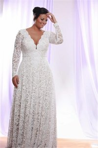Fashion Long Sleeves Lace Plus size V neck Wedding Dresses Lace Bodice Sweep Train Hollow Back Cheap Vestiod De Wedding Bridal Gowns on Sale