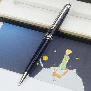 Wholesale ballpoints pens resale online - Best Quality Blue Le Petit Prince Luxury Rollerball Ballpoint Silver Metal Cap with Deep Blue Precious Resin Barrel Pen for gift