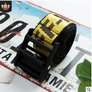 Wholesale fashion yellow belt industrial style canvas embroidery belt tide men and women waist belts closure decoration