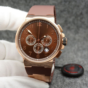 Wholesale marine chronograph watches for sale - Group buy Noble Executive Dual Time Men Watch Marine Chronograph Brown Dial UN Quartz Battery Rubber Strap Wristwatches Mens Watches