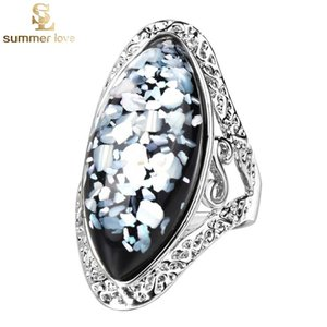 Wholesale antique jewlery resale online - New Arrival Color Pickable Antique Silver Fantasy Color Big Oval Shell Finger Ring for Women Female Boho Beach Jewlery Gift