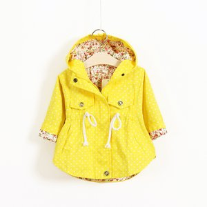 Wholesale New Spring Baby Girls Clothes Baby Outerwear Infant Cartoon Coat Wave Printed Batwing Coat J190509