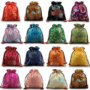 Wholesale silk designer bags for sale - Group buy Luxury Floral Large Gift Bags Wedding Party Favor Bags Chinese Silk Brocade Christmas Pouch High End Drawstring Storage Pouch