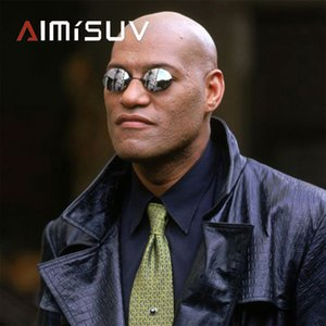 AIMISUV Round Rimless Sunglasses Men Matrix Morpheus Men's Classic Clamp Nose Glasses Mini Frameless Brand Design Glasses UV400
