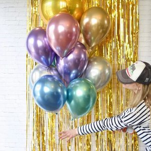 Wholesale Hot Fashion 50 pieces set 12inchParty Balloons thick pearl metal chrome gold wedding decoration balloon children's toy balloon T2G5027