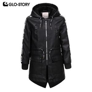 GLO-STORY Shipped From European Children Boys Long Faux Leather Jackets Kids Winter Wool Liner Outwear Windbreaker Coats 7445
