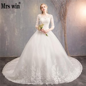 Wholesale Robe De Mariee Grande Taille New The Half Sleeve Ball Gown Luxury Lace Embroidery Wedding Dress Noble Vestido De Novias F