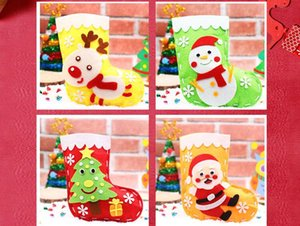 Wholesale DIY Christmas Stockings Gifts Cloth Santa Elk Socks Xmas Gift Bag For Children Fireplace Tree Christmas Decoration