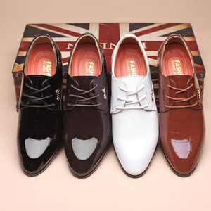 Wholesale Business Men Cow Patent Genuine Leather Shoes Lace up Pointed Toe Rubber Non slip Breathable Soft Bottom Shoes Big Size