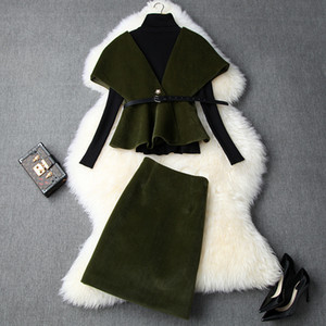Wholesale European and American women s clothing winter new style Long sleeved sweater Cape coat skirts Fashionable woolen suit