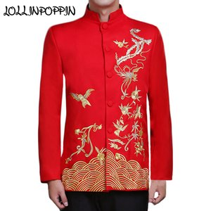 Wholesale Chinese Traditional Phoenix Embroidery Mens Wedding Suit Jacket Mandarin Collar Propitious Clouds Men Red Bridegroom Jacket