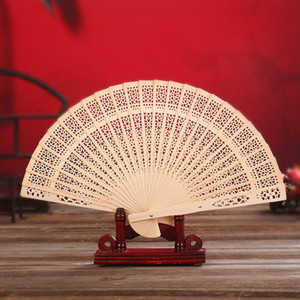 Sandalwood Fan Hand Held Folding Fans Chinese Traditional Hollow Fans Wooden Baby Shower Gifts Wedding Favors