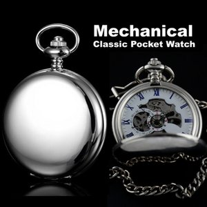 Smooth Case Silver Stainless Steel Classic Full Hunter Mechanical Fob Pocket Watch Steampunk Hand Wind Men Women Clock Gifts MX190713 on Sale