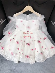 Wholesale Vintage flower girl dresses for weddings dress lovely Mesh dress without sleeve girl gowns Kids Princess dress toddler clothes DIO