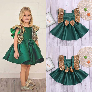 Wholesale Summer girl kids clothes girls temperament sleeveless bow flower army green dresses princess casual skirt kids designer clothes girls