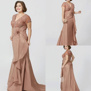 Wholesale Elegant Mother of the Bride Dresses V Neck Short Sleeves Lace Beads Sequins Evening Gowns Plus Size Mermaid Taffeta Wedding Guest Dress